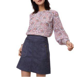 Ann Taylor LOFT Faux Suede Skirt in Blue/Grey